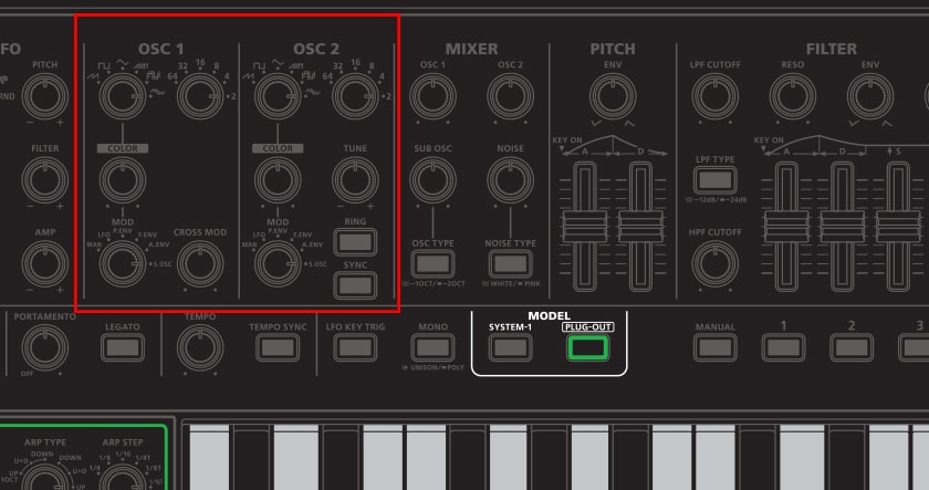 System-1 Plug Out Synth oscillators