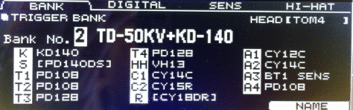 Roland TD-50 Pad Settings Screen