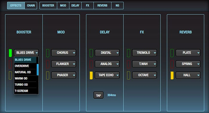 BOSS Tone Studio Editor effects