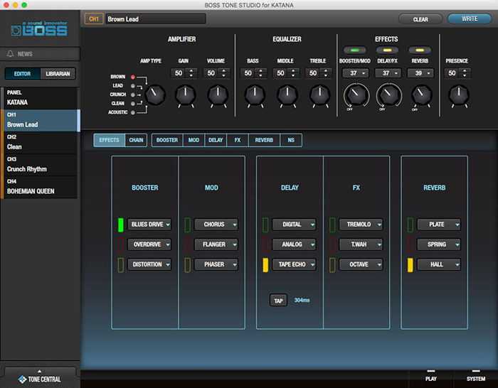 BOSS Tone Studio Editor interface