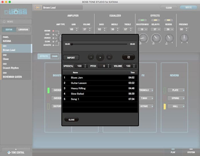 BOSS Tone Studio Editor interface  - Import functions