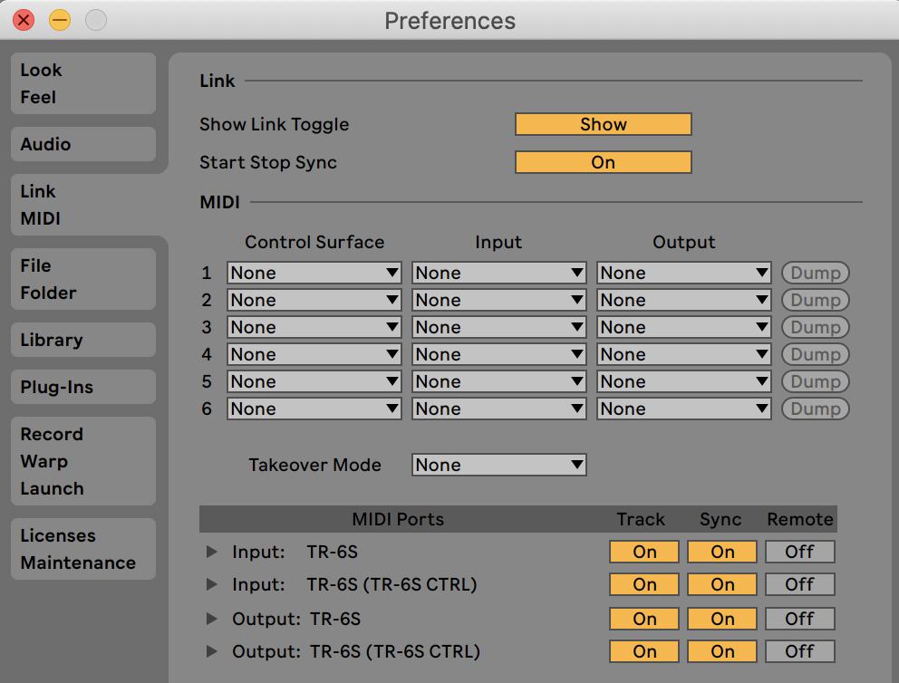 Ableton TR-6S Midi Sync Settings